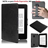 Malloom® Para Amazon Kindle Paperwhite 5 puro Premiu Ultra delgado cuero inteligente cáscara Fundas (negro (black)r)