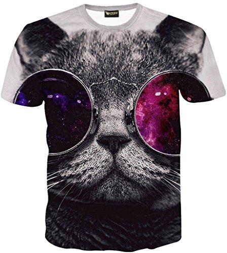 Pizoff Unisex Digital Print Schmale Passform T Shirts mit Katzen Cat 3D Muster, Y1625-30, XXL