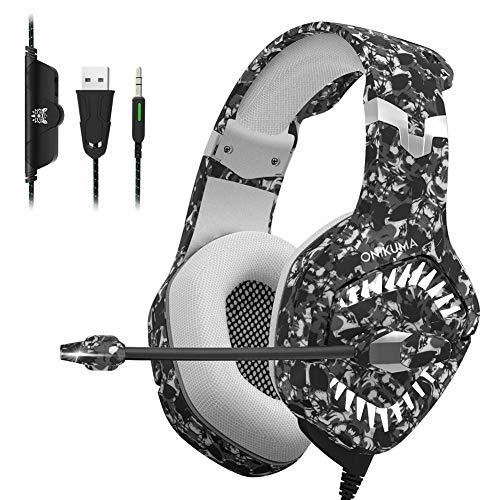 CCYYA Gaming Headset, 3,5Mm Stereo-Over-Ear-Kopfhörer Mit Noise Cancelling Mikrofon Und Lautstärkeregler Stirnband-Kopfhörer Für PC, Xbox One, PS4, Mac, Laptop, Mobiltelefone,Camouflagegray