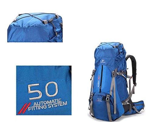 Männer und Frauen Taschen 50L wasserdicht Schultern im Freien Rucksack Wanderrucksack Outdoor-Rucksack Bergsteigen Gelb