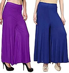 Rooliums Womens Trendy and Stylish Palazzo Pack of 2 (Beige,Purple) Free Size