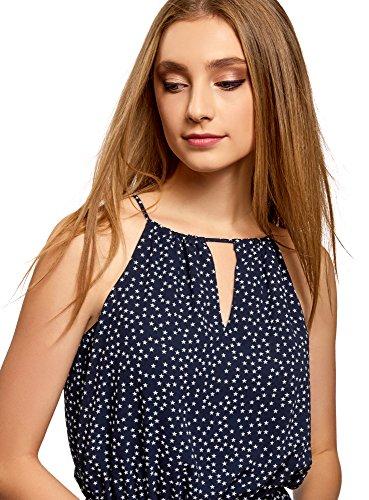 oodji Ultra Damen Kleid aus Leichtem Stoff mit Asymmetrischem Saum Blau (7912G)