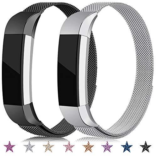 Onedream Kompatibel für Fitbit Alta Hr Ace Armband Damen Herren Metall Edelstahl Ersatzarmband Uhrenarmband Zubehör Kompatibel für Fitbit Alta Hr/Alta Schwarz Silber Kleine