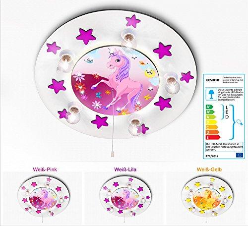 Kinderzimmerlampe Led Schlummerlicht Einhorn mit Sternchen 033-2-WLi Kinderlampe Baby Leuchte Babylampe