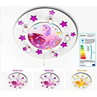 KIDSLICHT Kinderzimmerlampe Led Schlummerlicht Einhorn mit Sternchen 033-2-WLi Kinderlampe Baby Leuchte Babylampe