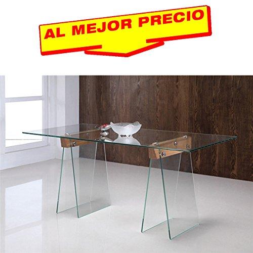 MESA DE COMEDOR MADERA Y CRISTAL PARA SALÓN MODELO METROPOLITAN 180 x 90 CM - OFERTAS HOGAR -¡AL MEJOR