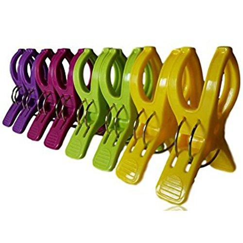 8Wäscheklammern für Strand-Handtücher.Langlebige Handtuch-Klammern in bunten Farben. Zum Aufhängen Ihres großen Strandtuchs im Sommer oder Ihrer schweren Wäsche. multi