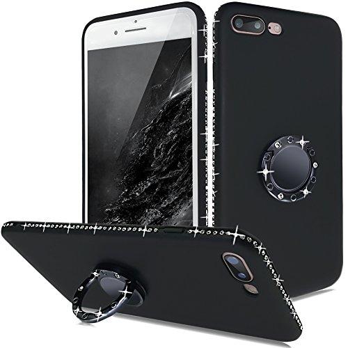 iPhone 7 Plus Hüllen Silikon,iPhone 8 Plus Handy Hülle Glitzer Schwarz,Slynmax Diamant Magnetischer Auto-Träger-Telefon Fall Luxus Bling Glitzer Schutzhülle Ring Weiche Case