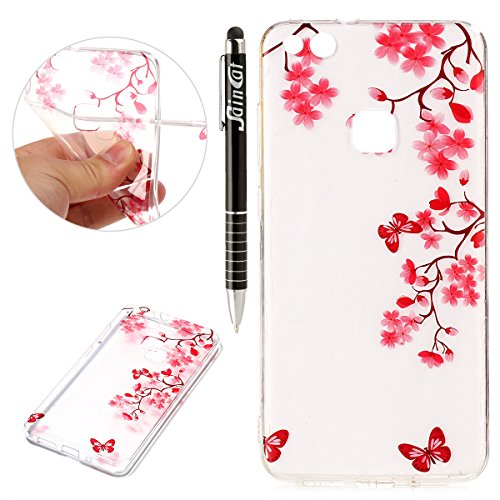 Custodia Huawei P10 Lite, Huawei P10 Lite Cover Silicone Trasparente, SainCat Custodia in Morbida TPU Protettiva Cover per Huawei P10 Lite, 3D Creative Design Transparent Silicone Case Ultra Slim Sottile Morbida Transparent TPU Gel Cover Case Shock-Absorption Anti Scivolo Custodia Protettiva Crystal Clear Cover Gomma Case Caso Trasparente Sottile Ultra Thin Slim Protettiva Anti-scratch Skin Shell Case Coperture Bumper Cover per Huawei P10 Lite(Rosa Albicocca)