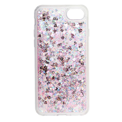 MagiDeal Transparent Schutzhülle Handyhülle Hülle Für Iphone 7 , Flüssige Fließend Wasser und Glänzende Bling Stern / Herzen - Lila Pink 2