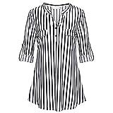 Xmiral Bluse Shirt Damen Split V-Ausschnitt Roll-Up Langarm Lässig Kariert Blousen Kostüm Sweatshirt Sommer(3XL,F Schwarz)
