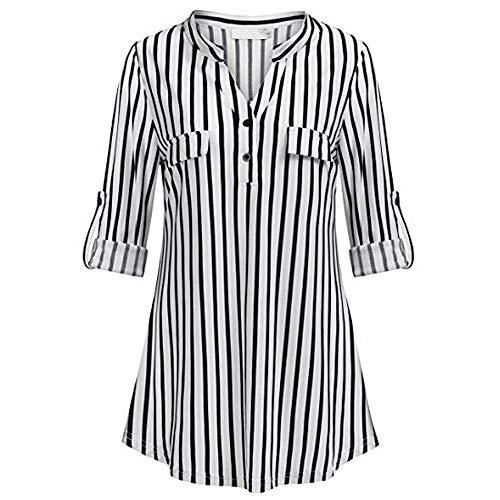 Xmiral Bluse Shirt Damen Split V-Ausschnitt Roll-Up Langarm Lässig Kariert Blousen Kostüm Sweatshirt Sommer(2XL,F Schwarz)