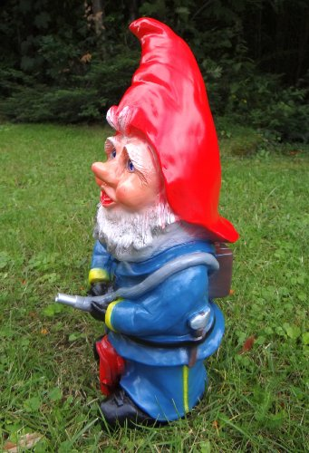Gartenzwerg Feuerwehrmann aus bruchfestem PVC Zwerg Made in Germany Figur - 3