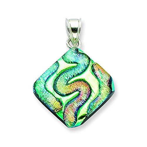 Sterling Silber Multicolor Dichroitische Glas Diamant Geformt Anhänger (Geformte Gläser Diamant)