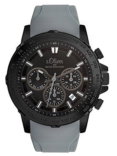 s.Oliver Herren Multi Zifferblatt Quarz Uhr mit Silikon Armband SO-3490-PM
