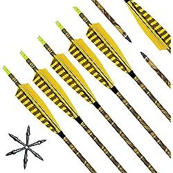 """Narchery Tiro con Arco Flechas y saetas, 31"""" Pulgadas Arcos y Flechas para Caza o Práctica, Incluye Flechas reemplazos, Tres Plumas Naturales, Hecho en Carbono Mixta, Camuflaje, 12 pcs"""