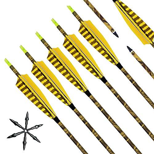 Narchery Pfeile für Bogenschießen, 31 Zoll Camo Bogenpfeile Carbon Pfeile mit Naturfeder, Jagdpfeile für Bogen, Recurvebogen, Langbogen und traditionellen Bogen, 12er Set