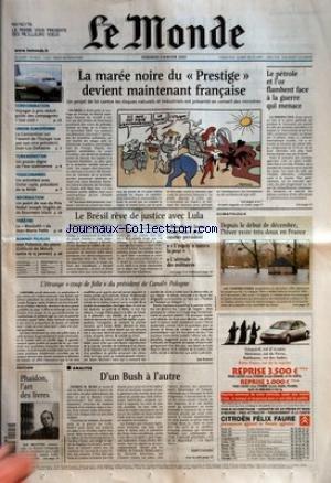MONDE (LE) [No 18022] du 03/01/2003 - CONSOMMATION - VOYAGER A PRIX REDUIT - GUIDE DES COMPAGNIES 'LOW COST+« UNION EUROPEENNE - LA CONVENTION SUR L'AVENIR DE L'EUROPE VUE PAR SON VICE-PRESIDENT, JEAN-LUC DEHAENE TURKMENISTAN - UN PROCES DIGNE DE L'ERE STALINIENNE TOXICOMANIES - UN ENTRETIEN AVEC DIDIER JAYLE, PRESIDENT DE LA MILDT INFORMATION - UN POINT DE VUE DU PRIX NOBEL JOSEPH STIGLITZ ET DE ROUMEEN ISLAM THEATRE - LE 'MACBETH+« DE JEAN-MARIE PATTE BONNES FEUILLES - JEAN EC