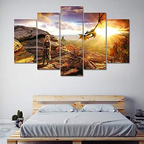 Art Poster Decoración del Hogar Moderno Lienzo 5 Panel Juego De Tronos para La Sala De Estar HD Imprimir Pintura Modular Pictures Frame