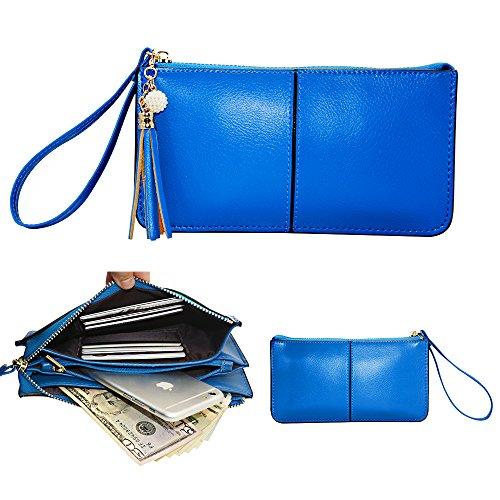 Belfen® weiches Leder Smartphone Zipper Geldbörse Organizer mit Kreditkarte Halter / Bargeld Tasche / Wristlet- [bis zu 6 x 3,1 * 0,3 Zoll Handy] -Blue