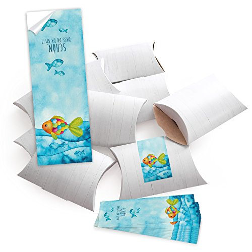 25 kleine Geschenkschachteln Holz Optik weiß 14,5 x 10,5 cm ca. 3 cm Höhe + 25 blau türkise Regenbogen-Fisch SCHÖN DASS DU DA BIST Aufkleber 5 x 15 cm Verpackung give-away