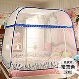 Mayihang Moskitonetz Kostenlose Installation Paket Mongolei Netze drei Falttür Reißverschluss 1,2 m 1.5/1.8M unteres Bett Home, Lavendel Blau [Alle unteren], 1,8 m (6 Fuß) Bett