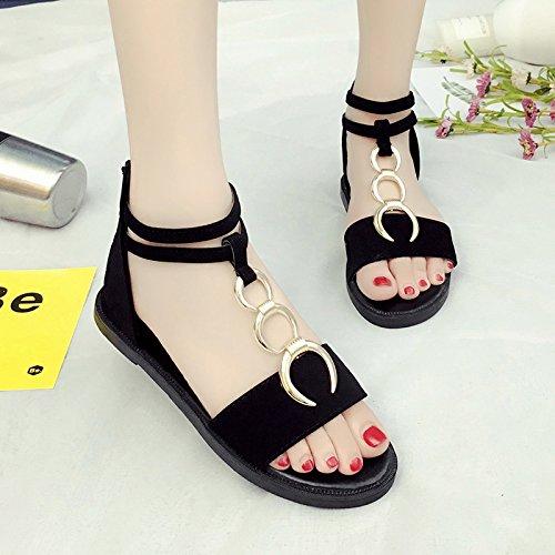 RUGAI-UE Semplice sandali estivi Calzature Donna rotonda piatta scarpe della fibbia Black