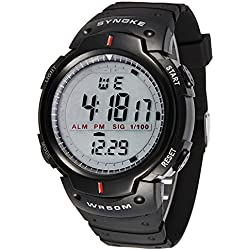 Silvercell Men Waterproof LED Digital Stopwatch Sports Wrist Watches Black