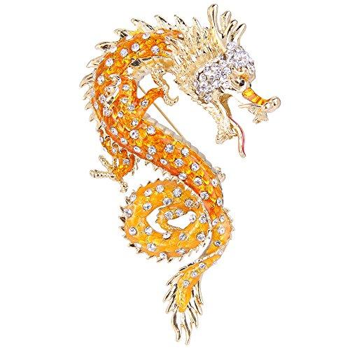 Flyonce Damen Österreichische Kristall Orange Emaille Leistungsstarke Dragon Brosche Klar Gold-Ton