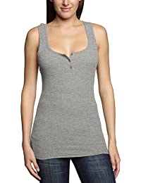 Urban Classics Damen Sport T-Shirt Ladies Button Tanktop