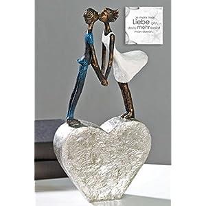 Casablanca - Skulptur Devotion aus Poly - weißes Kleid/Blauer Anzug auf silbernem Herz mit Zertifikat und Spruchanhänger