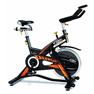 519AmkzU2bL. SS300  - BH Fitness Unisex's Duke Electronic Spinning Bikes, Black Orange, Large