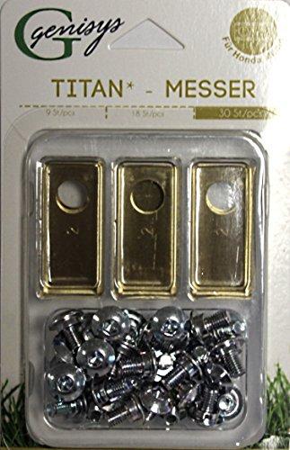genisys 30 Titan Ersatz Messer Klingen f. Honda Miimo 310 520 3000 (LongLife | 0,75mm) 30 Schrauben