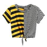 TUDUZ Damen Sommer Kurzarm O-Ausschnitt Streifen Tee Bow Bandage Bluse Tops T-Shirt Oberteil (Mehrfarbig-C, S)