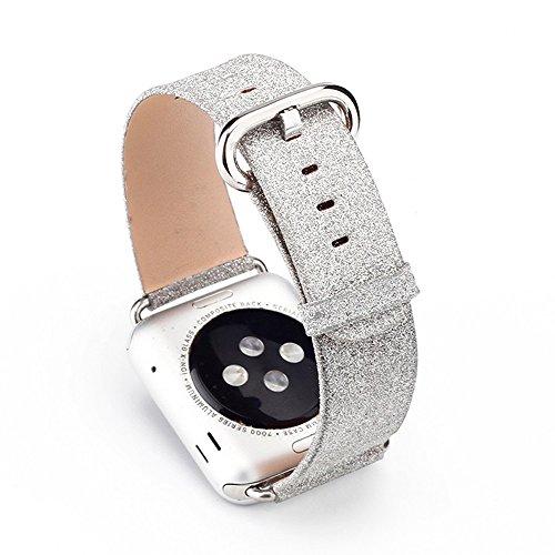 Apple Watch Armband 38mm, Xingzhao Deluxe Bling Glitzer glänzend Leder Armband Strap Ersatz für Apple Watch Armband 38mm Series 1 / 2 / 3, Sport, Edition, Nike+(38mm Silber) Apple Green Armband
