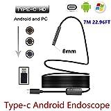 8MM 720p Megapixel HD Wireless 2in1USB der U89Endoskop Endoskop, wasserdicht Inspektion Schlange Kamera für Android/MacBook OS mit 8LED-Helligkeit verstellbar, 7M 22.96FT, Schwarz, 1