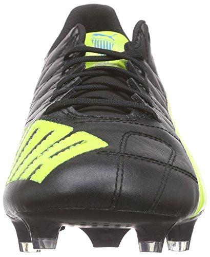 Puma Evospeed SL Lth FG, Chaussures de Football Homme Noir - Black (black-safety yellow-white 05)