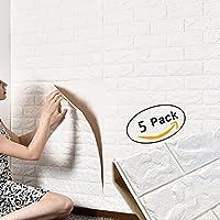 3D papier peint brique,autocollant de mur de mousse de PE amovible et de bton de PE pour le bureau à la maison (5 pièces blanches)