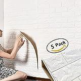 3D Ziegel Tapete, Wandaufkleber Stereo Wandtattoo Papier Abnehmbare selbstklebend Tapete für Schlafzimmer Wohnzimmer moderne Hintergrund TV-Decor 60x60cm (Weiß 5 Stück)