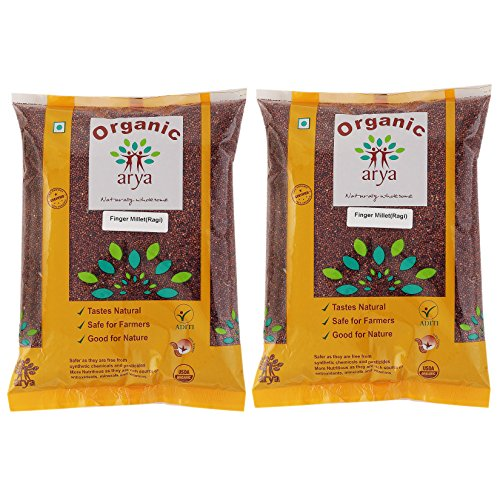 Arya Farm Organic Finger Millet, Whole Ragi ,1 kg – (Pack of 2)