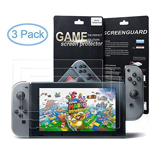 Nintendo Switch Protector de Pantalla, Morbuy HD PET Film Transparente Ultra-trasparente Anti-golpe Ajuste Perfecto No hay Burbujas Protector Pantalla Screen Protector para Nintendo Switch (3 Pack)