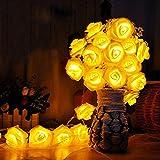 2m 20 Gelb Rose Blumen LED Lichterkette Romantische Party Indoor Decor Batterie Power Schlafzimmer Hochzeit Foto Garten Hängen Weihnachten Weihnachten Valentinstag Dekoration