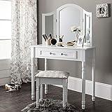 Generic Table de Coiffeuse Triple Pliant avec Miroir et Tabouret Blanc