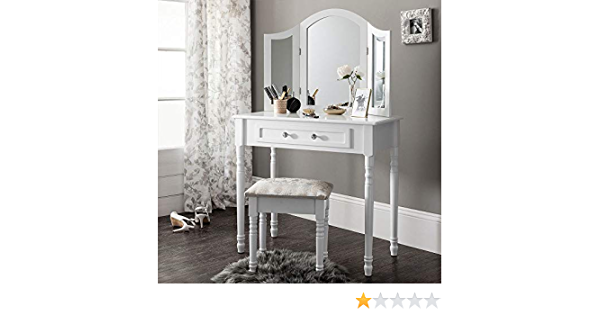 G Table Mak Tri-Fold Miroir Sing TA Vanity Desk T de Chambre Coiffeuse Maquillage Tri-Fold M Ensemble de Chambre /à Coucher Blanc droom Blanc tiroir Tabouret droom Blanc Generic