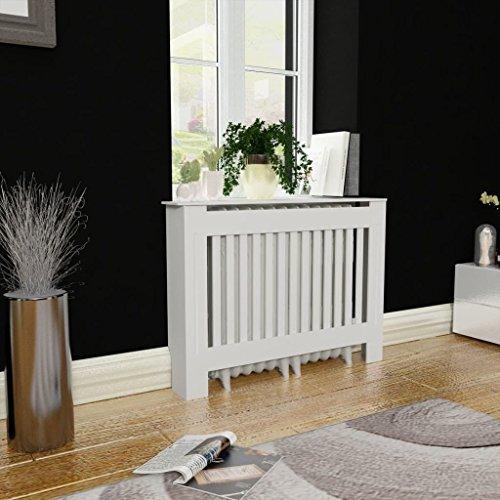 Vislone Cubre Radiador Decoracion Radiador de Diseño Moderno MDF Blanco 112x19x81cm
