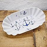 Pommesschale Porzellan - Handgemacht von Ahoi Marie - Motiv Ankerwelt - Maritime Currywurst-Schale original aus dem Norden