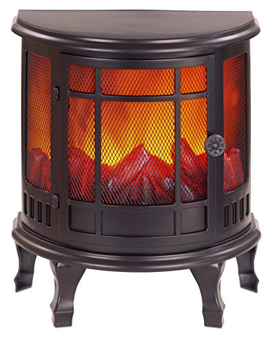 BRUBAKER Chimenea con Patas Eléctrica Decorativa - Efecto Llamas - Luz LED Ambiental - Negro - 35 x 30 cm