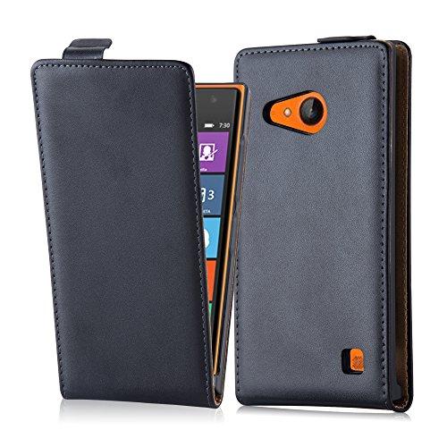 Cadorabo Hülle für Nokia Lumia 730/735 Hülle in KAVIAR Schwarz Handyhülle aus Glattem Kunstleder im Flip Design Case Cover Schutzhülle Etui Tasche Kaviar-Schwarz