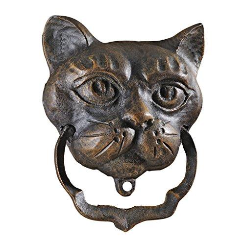 Design Toscano Türklopfer in Form einer schwarze Katze, aus Eisen,Maße: 5 x 14 x 18 cm (Schwarze Formen Halloween)