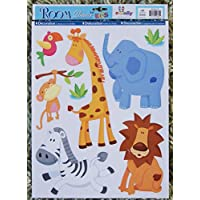 Boys Girls Kids Childrens Childs Baby Nursery Playroom Bedroom Jungle Animals Safari Lion Giraffe Elephant Hippo Wall Furniture Stickers Decals Stickarounds Decor